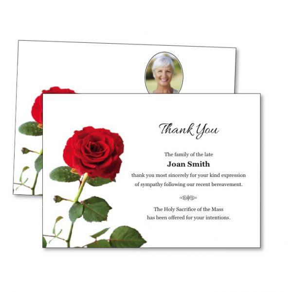 Acknowledgement Card featuring a rose
