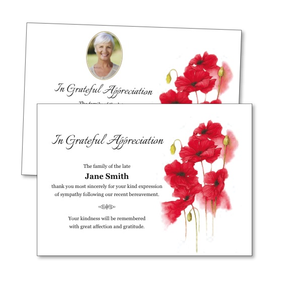 Acknowledgement Card featuring a red watercolour flower