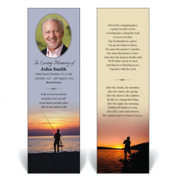 Memorial Bookmark with a man fishing