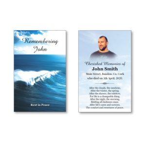 Wallet Memorial Card with ocean scene