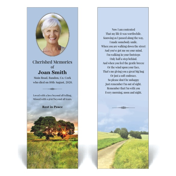 Bookmark featuring trees at sunset