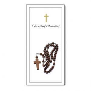 Bookmark holder featuring rosary beads