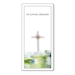 Bookmark holder featuring lilies and a cross